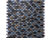 30x30cm Blue, Black and Silver Glass & Natural Stone Brick Shape Walls Borders Mosaic Tiles
