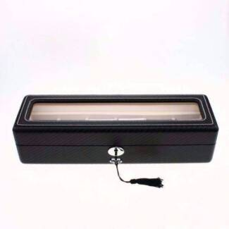 Black wooden carbon fiber watch case display Watch Box for men Lidcombe Auburn Area Preview