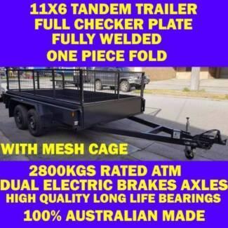 11x6 TANDEM TRAILER W CAGE 2.8T FULLY WELD FUL CKER PLT 10x6 12x6
