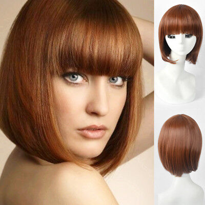 Adorable American African womens wig short bob coffee red bangs hair full wigs](Red Bob)