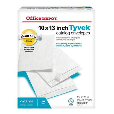 Office Depot Brand Clean Seal Tyvek Envelopes 10 X 13 White Box Of 50