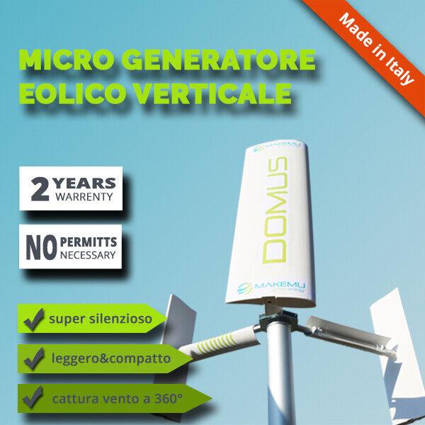 Generatore eolico asse verticale pala eolica DOMUS 500W casa tetto giardino VAWT