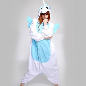 nouveau licorne bleue unisexe kigurumi pyjamas adulte animal cosplay dors ebay. Black Bedroom Furniture Sets. Home Design Ideas