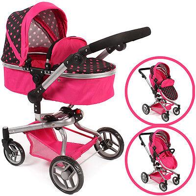 Bayer Chic 2000 Puppenwagen Yolo Dots 2in1 pink schwarz Sportsitz Karre Puppe