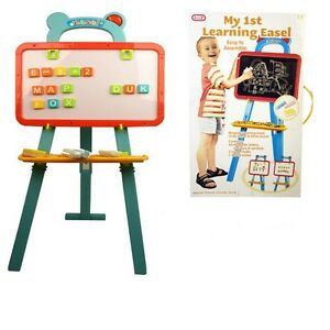 Large Double Sided Magnetic Learning Easel Blackboard White Board Chalk Letters