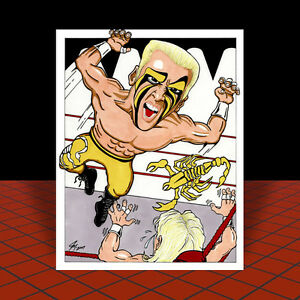 Vintage-STING-vs-Ric-Flair-nwa-wcw-POSTER-ART-signed-by-artist-wwf-wwe-ecw-tna
