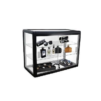 24 Aluminum Frame Counter Top Glass Showcase - Black - F-1301-b