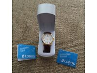 Brand new boxed Lorus gold watch - brown genuine leather strap