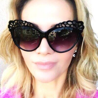 Vintage Mohotani Flower Baroque Cat Eye Pin Up Girl Lace Large Sunglasses (Sunglasses Vintage Flower)