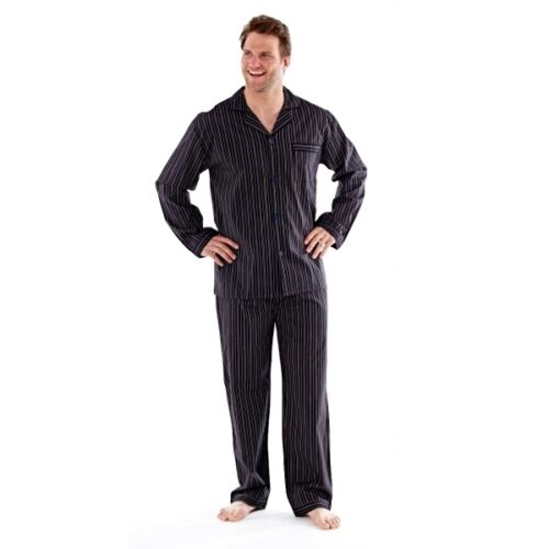 Papa Jams THOMAS Mens Striped Button Fastening Comfort Matching Pyjama Set
