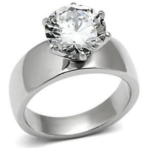 Wide Band Solitaire Cz Womens Stainless Steel Wedding Ring