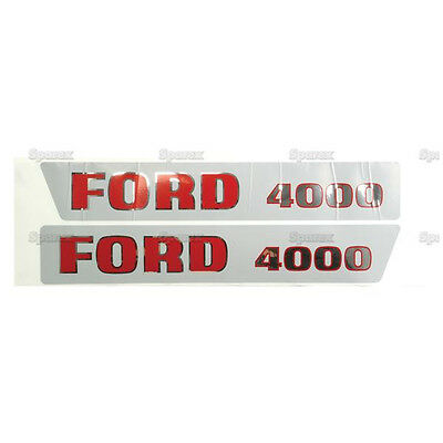 New Ford 4000 Hood Decal Set Redblack Letters