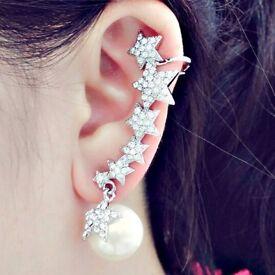 ONE PIECE Rhinestone Faux Pearl Star Ear Cuff