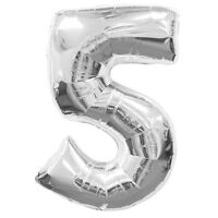 Number 5 Silver Foil Shaped Balloon For Helium Fill - Age 5 / 5th Birthday - unbranded - ebay.co.uk