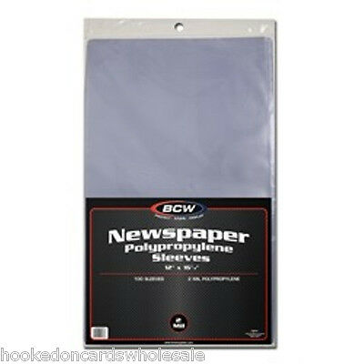 1 Pack 100 BCW Newspaper Sleeve Bags Storage Holder Protection 12 1/8 x 16 3/8