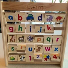 """George"" named Double Sided Alphabet / Pictures / Numbers Abacus, Wooden"