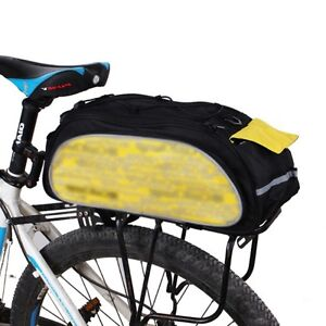 Bicycle Bike Rear Rack Top Bag with Rain Cover - Black Yellow