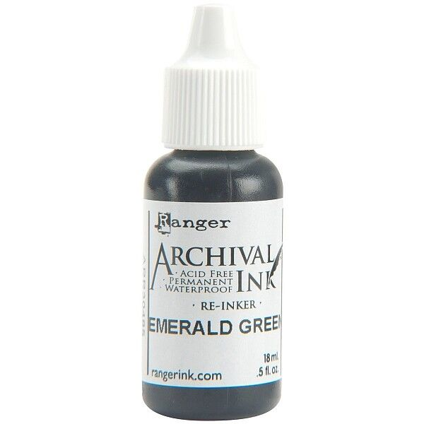 RANGER Archival Reinker .5oz Refill Ink for Stamp Pads Select from 55 colors Emerald Green