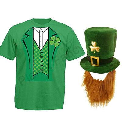 MENS LEPRECHAUN IRISH T SHIRT HAT BEARD FANCY DRESS COSTUME ST PATRICKS DAY - Irish Leprechaun Costume