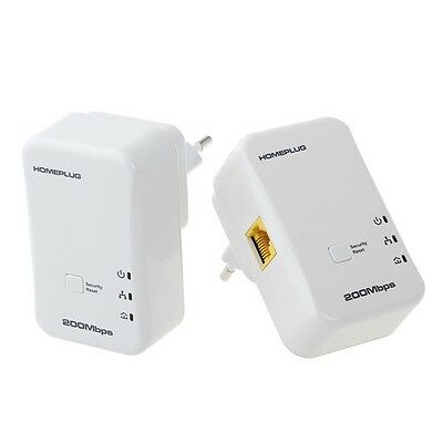 2X  200Mbps Mini Homeplug Ethernet Network Extender AV Powerline Adapter Kit