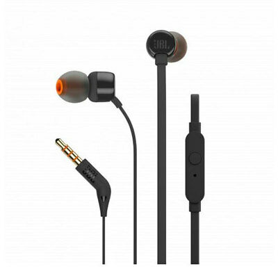 JBL T110 Schwarz In-Ear Kopfhörer Flachkabel 3,5mm Anschluss Leicht Headphones