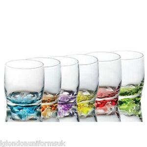 Set of 6 Coloured Base Glasses Set Glassware Tumbler Juice Whiskey Wine Glass