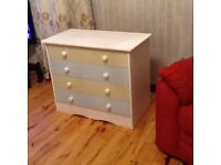 Shabby chic chalk painted 4 drawer chest.