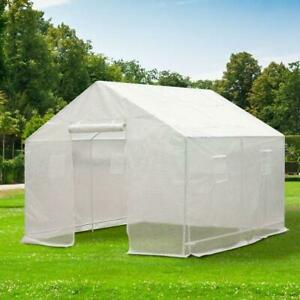 10 x 9.5 x 8ft Steeple Outdoor Walk-In Greenhouse Portable Garden Planting Warm House w/White PE Cover Greenhouse
