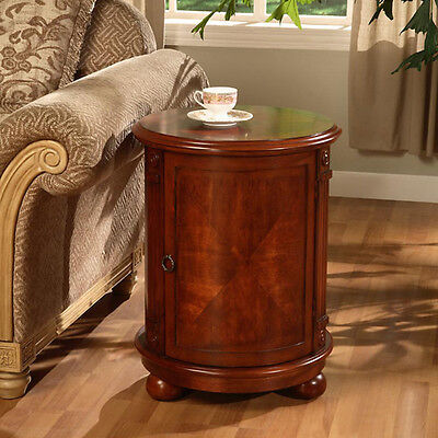 Outmoded Style Walnut Cherry Wood Finish Living Room Drum Shape Storage End Table