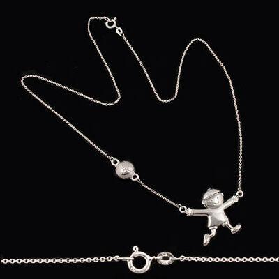 Collier Halskette Kette 925 Silber Junge mit Ball 42cm neu Schmuck als Geschenk