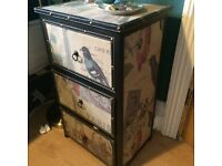 Vintage Fabric Paris Butterfly Bird Lamp Table Bedside Table