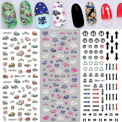 Arrow Traffic Sign (Nail Art Stickers Water Transfer Traffic Sign Arrow Direction Classic)