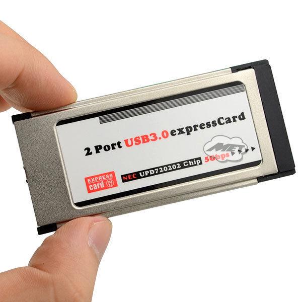 2 Ports USB 3.0 Express card Expresscard 34mm Hidden Adapter for Laptop Computer