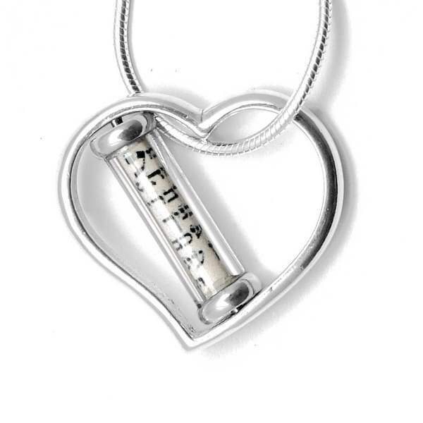 Heart Mezuzah Necklace Sterling Silver by Michael Bromberg