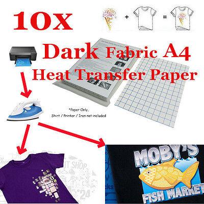 New T-shirt Inkjet Iron-on Heat Transfer Paper For Dark Fabric A4 -10 Sheet