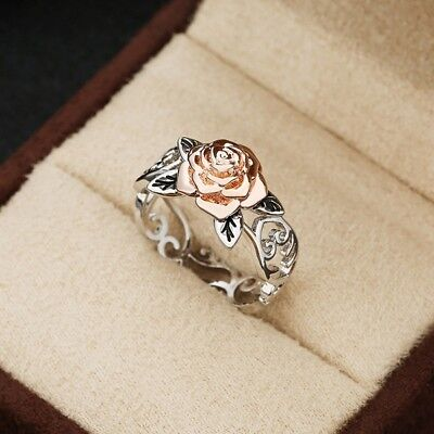 Exquisite Two Tone 925 Silver Floral Ring 14k Rose Gold Flower Wedding (Floral Wedding Ring)