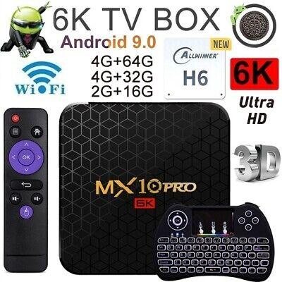 MX10 PRO 6K Android 9.0 Quad Core Smart TV Box Wifi H.265 4GB + 64GB I8 Keyboard