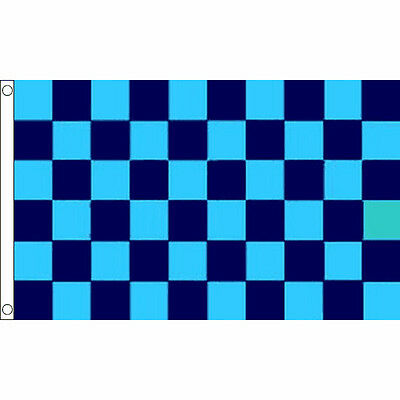 Sky Blue & Navy Checkered Flag 5 x 3 FT - 100% Polyester With Eyelets Banner