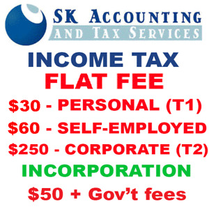 INCOME TAX - FLAT FEE ! - PERSONAL & CORPORATE - INCORPORATION