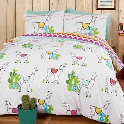 Lama und Kaktus Thema Wende Orange Rosa Weiß Blau Einzel- Bettwäsche Set ()