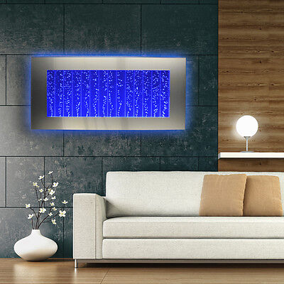 """Horizontal Bubble Wall Mount LED Lighting Indoor Water Feature Fountain 45"""""""