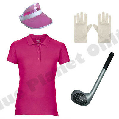 LADIES GOLFER GOLF FANCY DRESS COSTUME & CLUB CRAZY PUB HEN NIGHT PARTY DO
