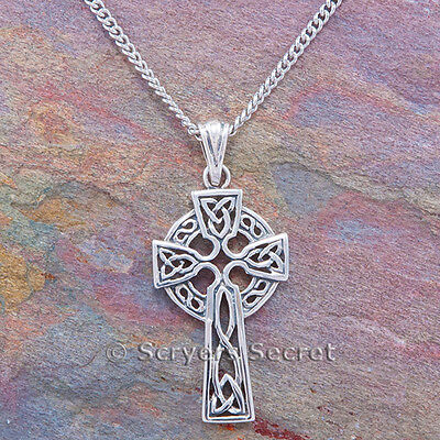 CELTIC CROSS Necklace celtic KNOT WORK Irish Pendant Sterling Silver (New Celtic Stone Cross)