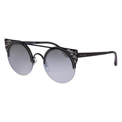 Bvlgari BV6088 239/6g Black/Light Grey Silver Mirrored Sunglasses 510$ (Bulgari Shades)