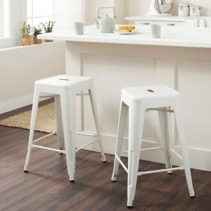 White Industrial Bar Stools set of 2