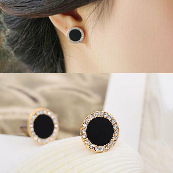 Lady Black Round Ear Stud Earrings Diamond Wedding Shine Jewerly Gift