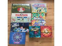 EIGHT BOARD GAMES, MONOPOLY, TRIVIAL PURSUIT, BLOKUS ETC