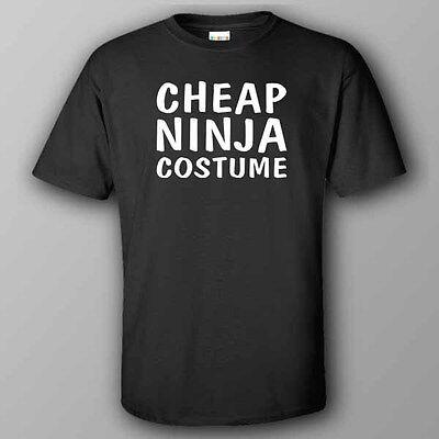 BLACK funny HALLOWEEN T-shirt CHEAP NINJA COSTUME - Cheap Ninja Costume