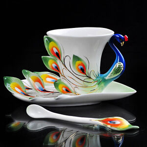 Gorgeous Porcelain China Green Peacock Coffee Set Tea Set 1Cup 1Saucer 1Spoon