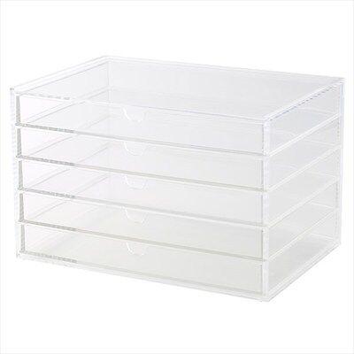 MUJI Large Acrylic case 5 Multipurpose drawer Organizer Box Japan New